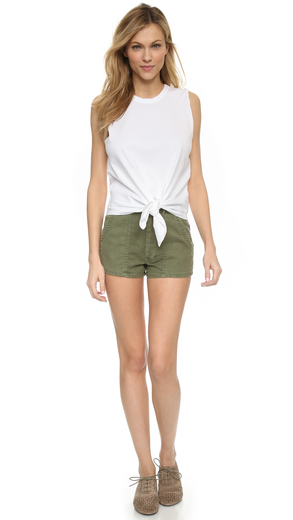 The great The High Waist Army Shorts - Beat Up Army in Green | Lyst