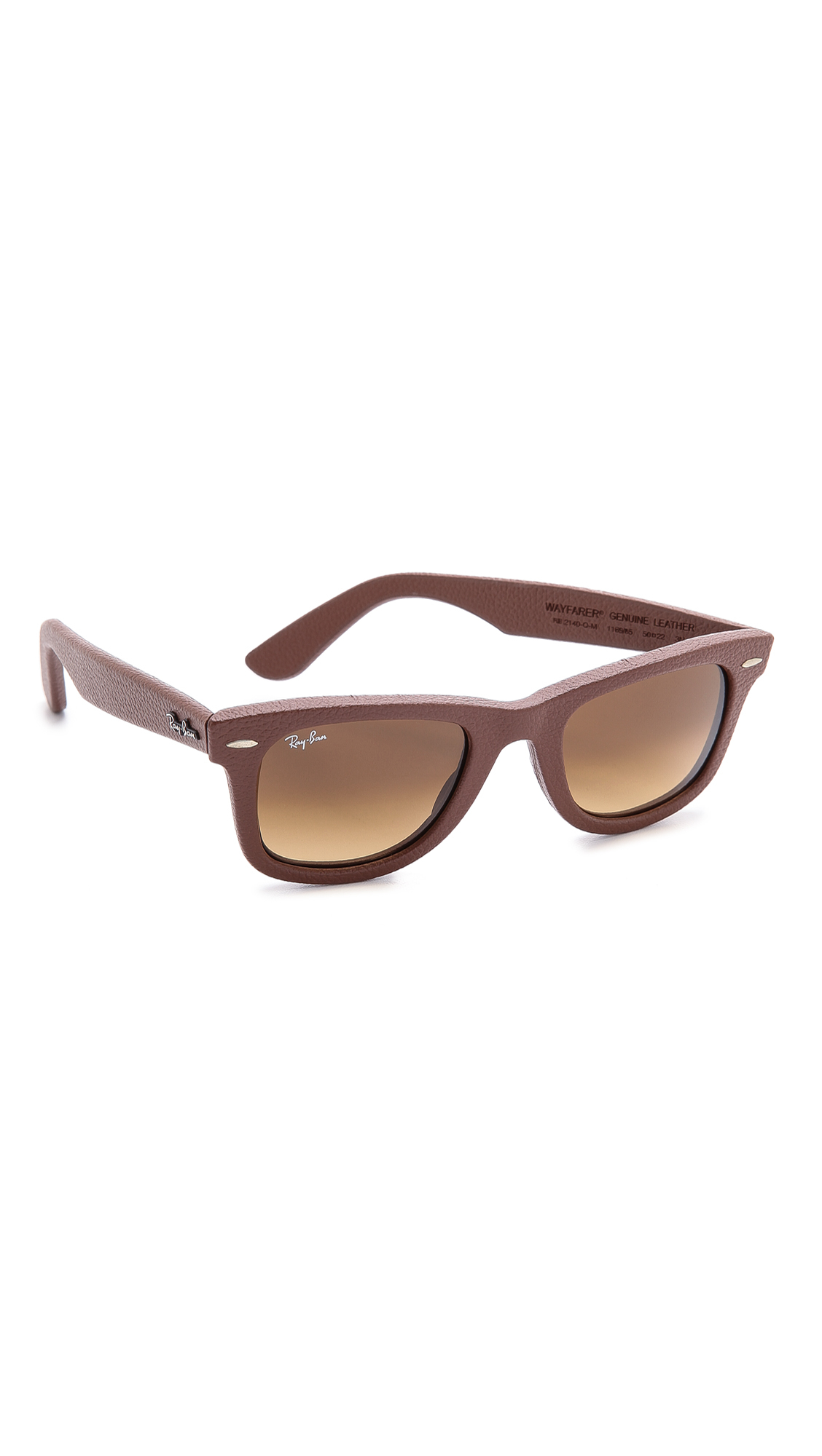 1849567916a Lyst - Ray-Ban Leather Wrapped Wayfarer Sunglasses in Brown for Men