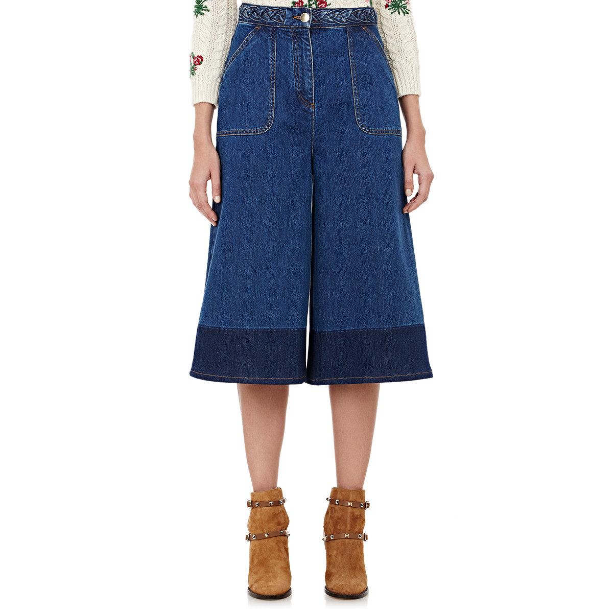 Valentino Denim Wide-leg Gaucho Pants in Blue | Lyst