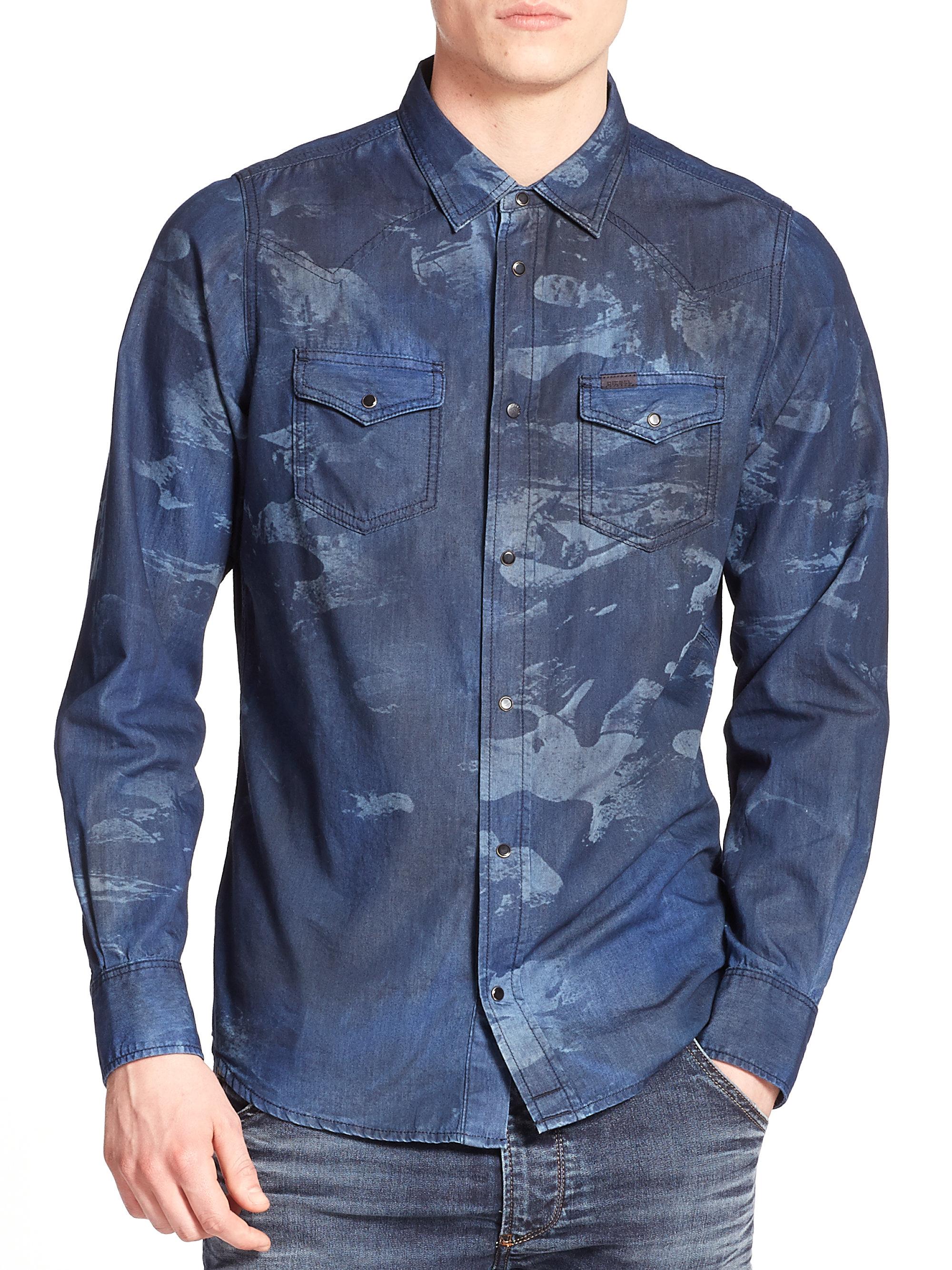 Lyst Diesel Sonora Camo Laser Sportshirt In Blue For Men