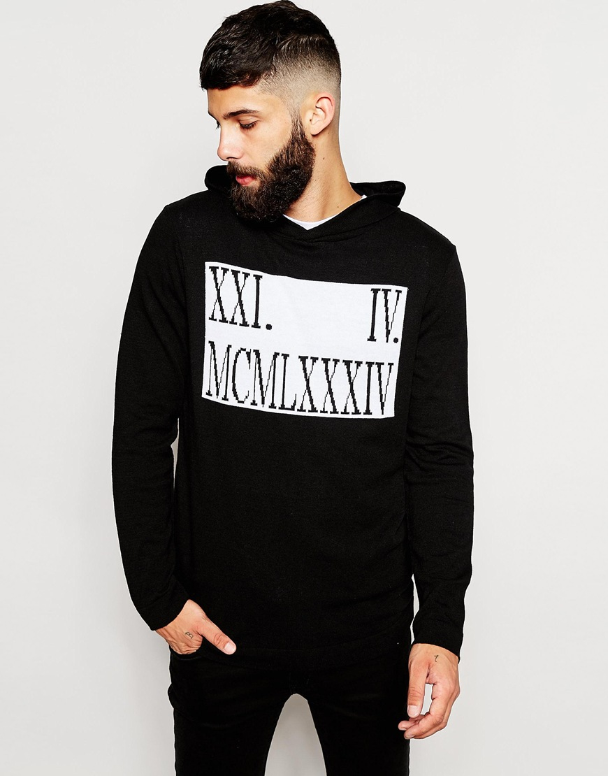 Lyst Asos Knitted Hoodie With Roman Numerals Design In