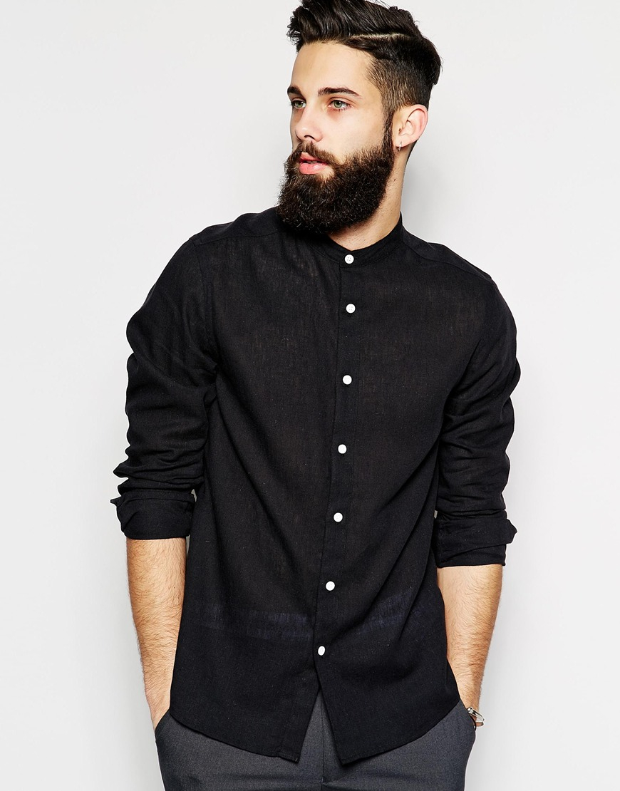 Asos Shirt In Long Sleeve With Linen Mix And Grandad Collar in ...
