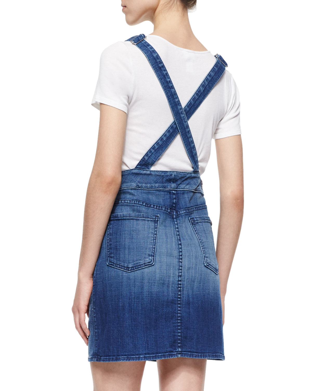 7 for all mankind denim button front overall skirt in blue