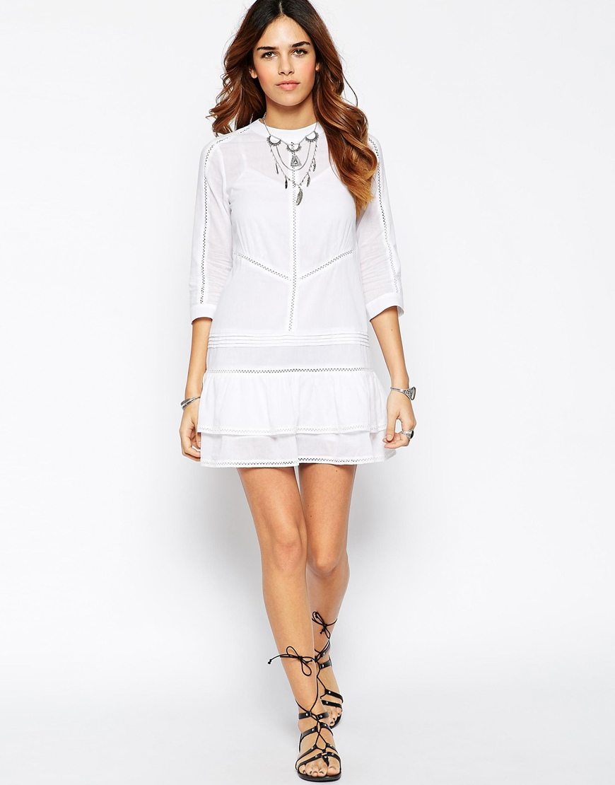 Asos Drop Waist Mini Dress With Faggotting Detail In White