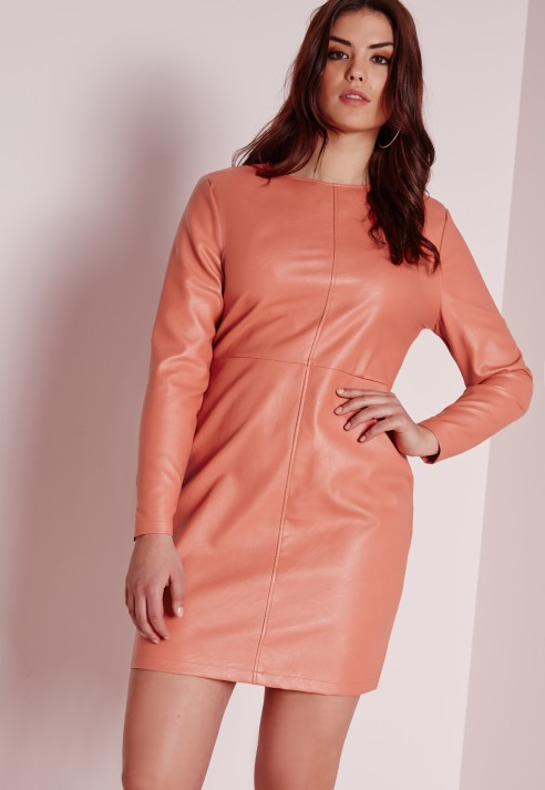 Missguided Plus Size Faux Leather Dress Pink In Pink | Lyst