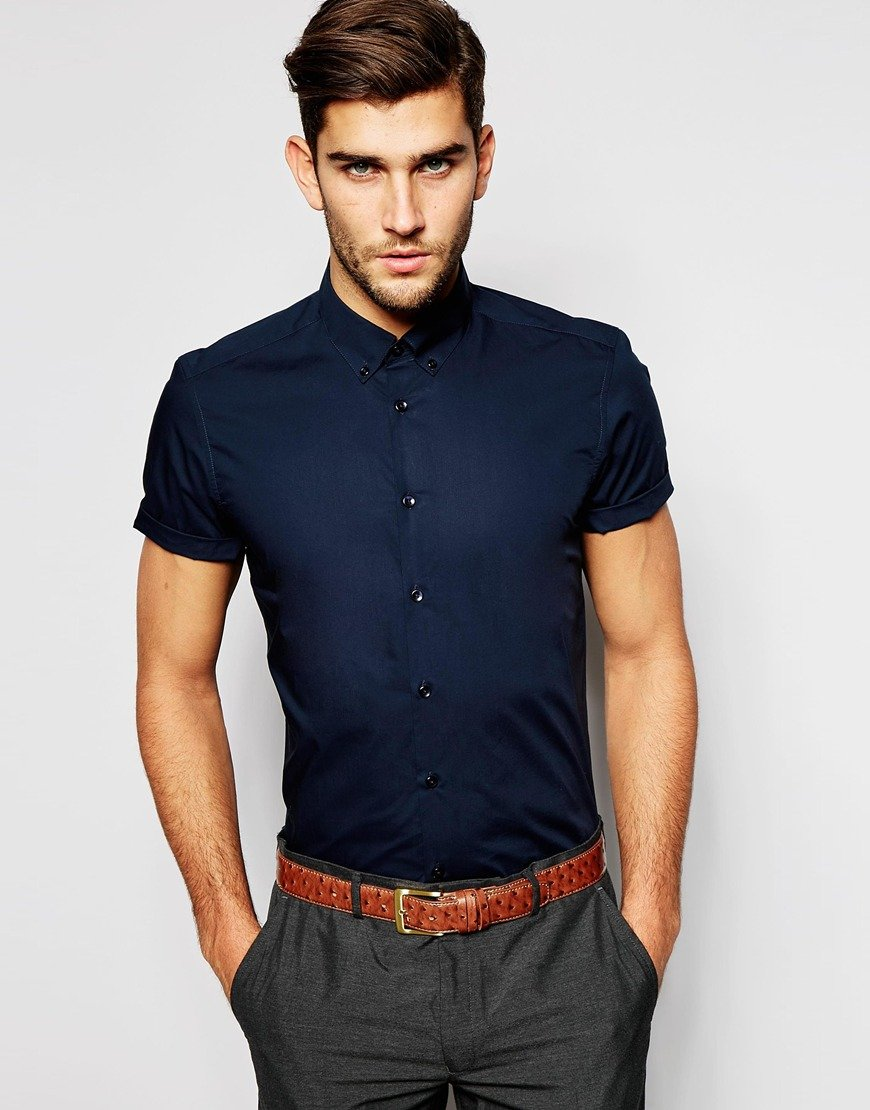 Asos Smart Shirt In Pure Cotton With Short Sleeves And Button Down ...