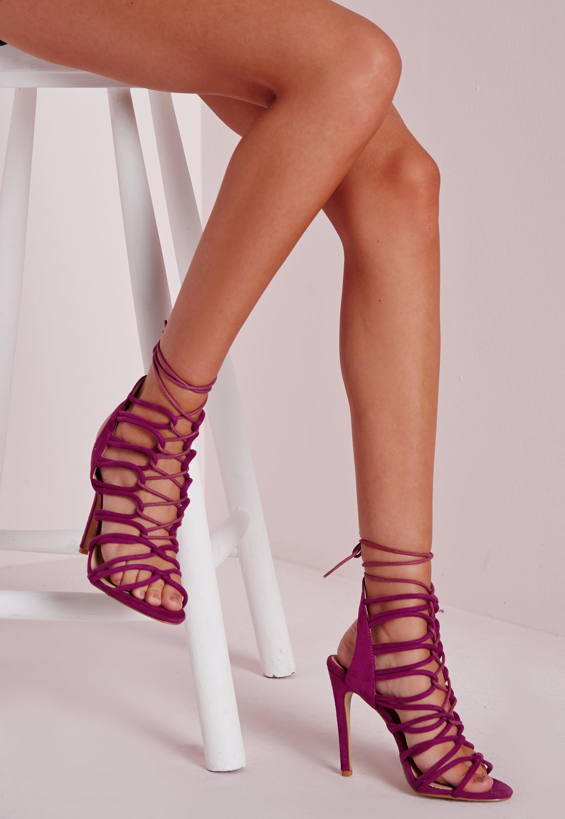 a30df4b6522 Lyst - Missguided Rope Lace Up Heeled Sandals Purple in Purple