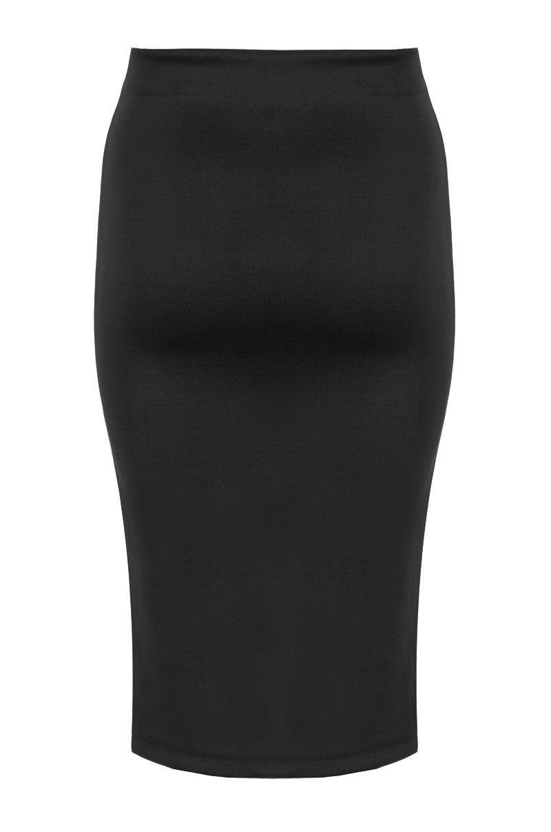 quiz black midi bodycon skirt in black lyst