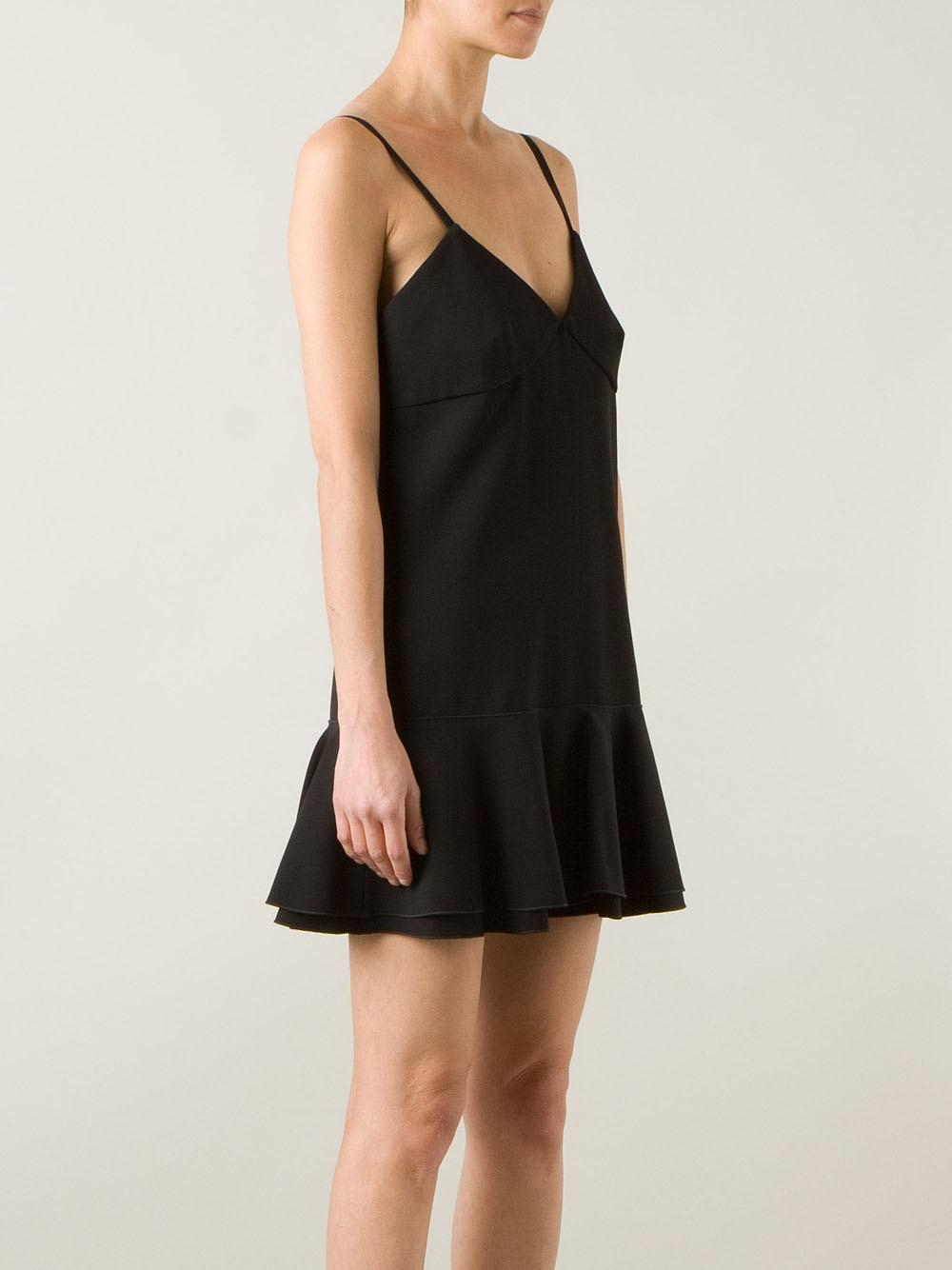 Victoria Beckham Crepe Ruffle Mini Dress In Black Lyst
