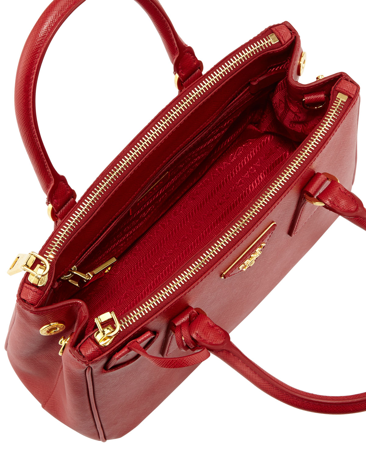 ef475cd33ba5 ... low cost lyst prada saffiano baby executive tote bag with strap in red  283fa cf4bb