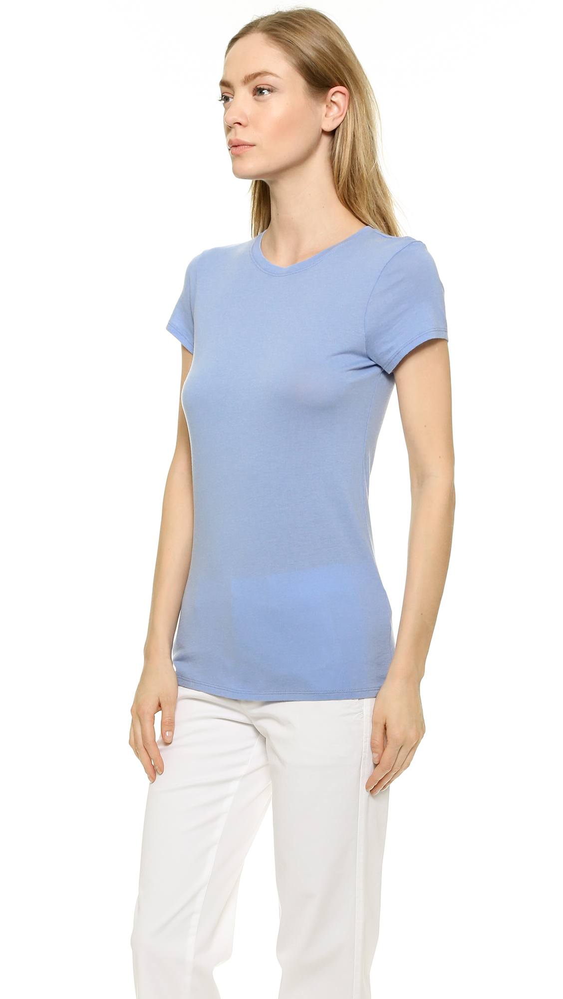 Vince little boy tee rosewood in blue lyst for Vince tee shirts sale