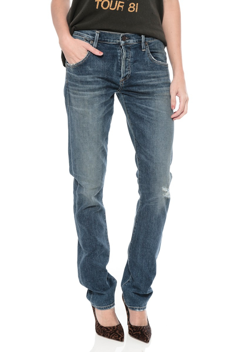 Citizens of humanity Emerson Long Slim Boyfriend Jeans in Blue (BLMT) | Lyst