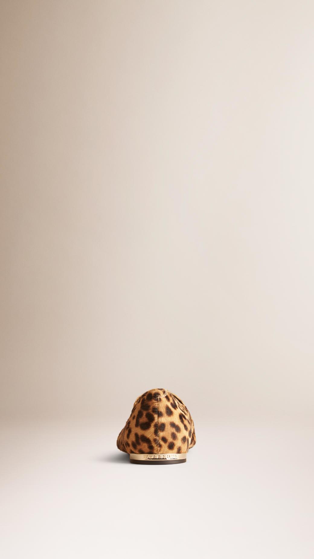 ac4c5fcd94f Lyst - Burberry Leopard-Print Calfskin Loafers