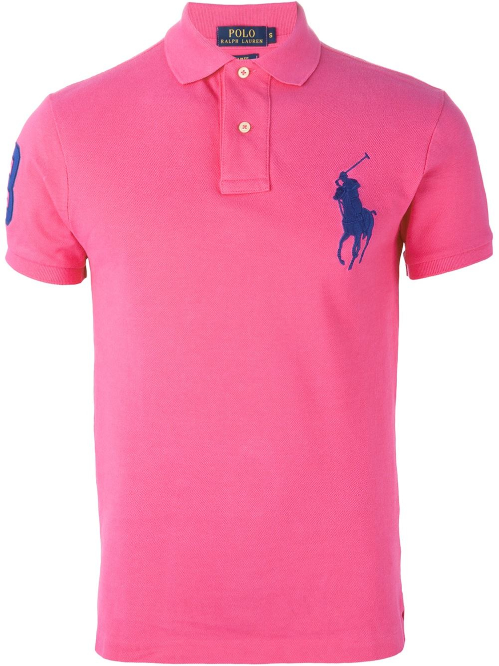 polo ralph lauren logo embroidered polo shirt in pink for men pink purple lyst. Black Bedroom Furniture Sets. Home Design Ideas