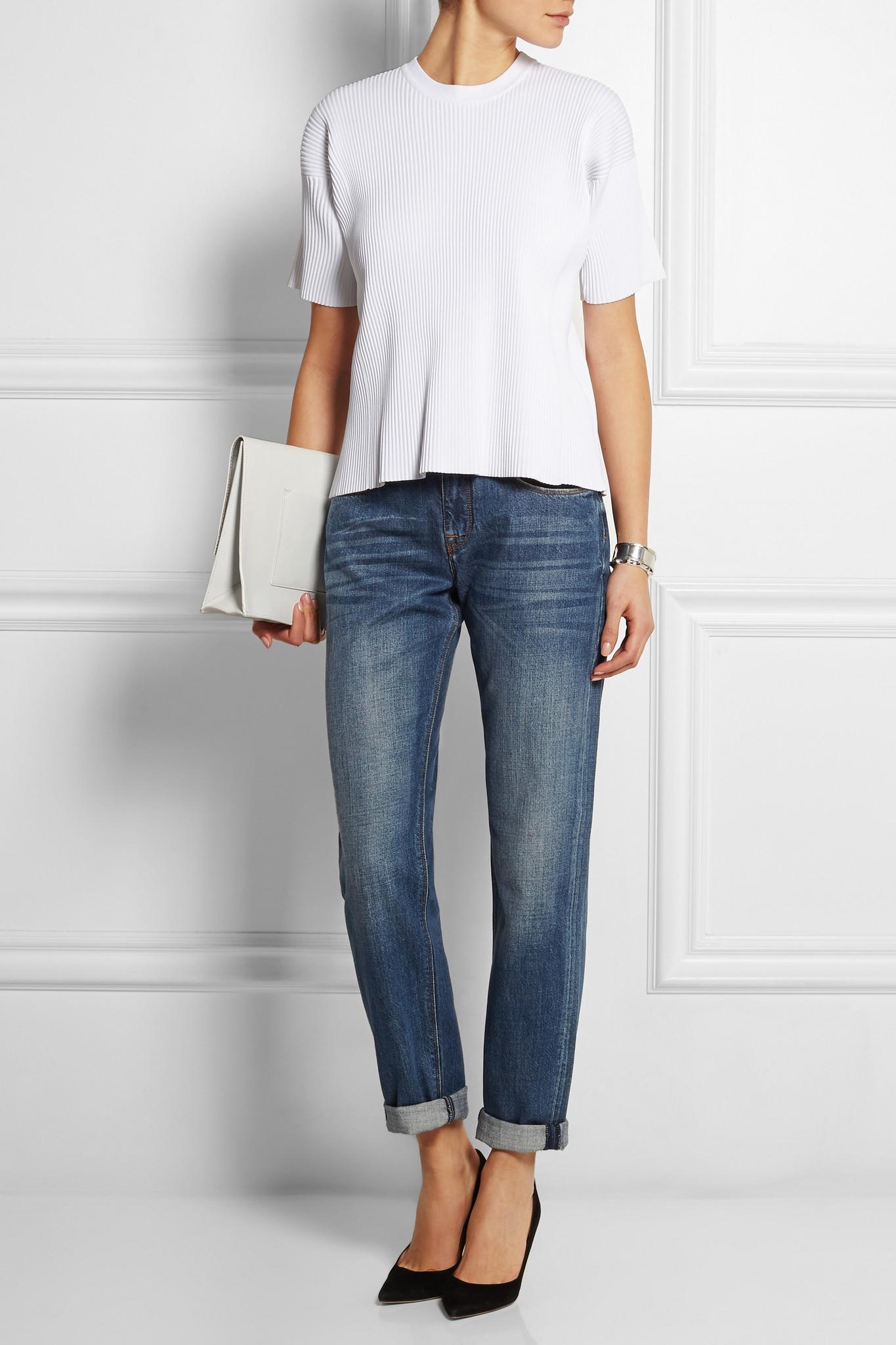Lyst - Victoria Beckham Mid-rise Boyfriend Jeans in Blue