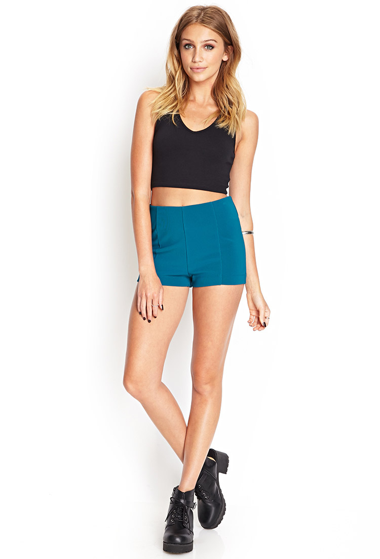 lyst forever 21 high waisted knit shorts in blue. Black Bedroom Furniture Sets. Home Design Ideas