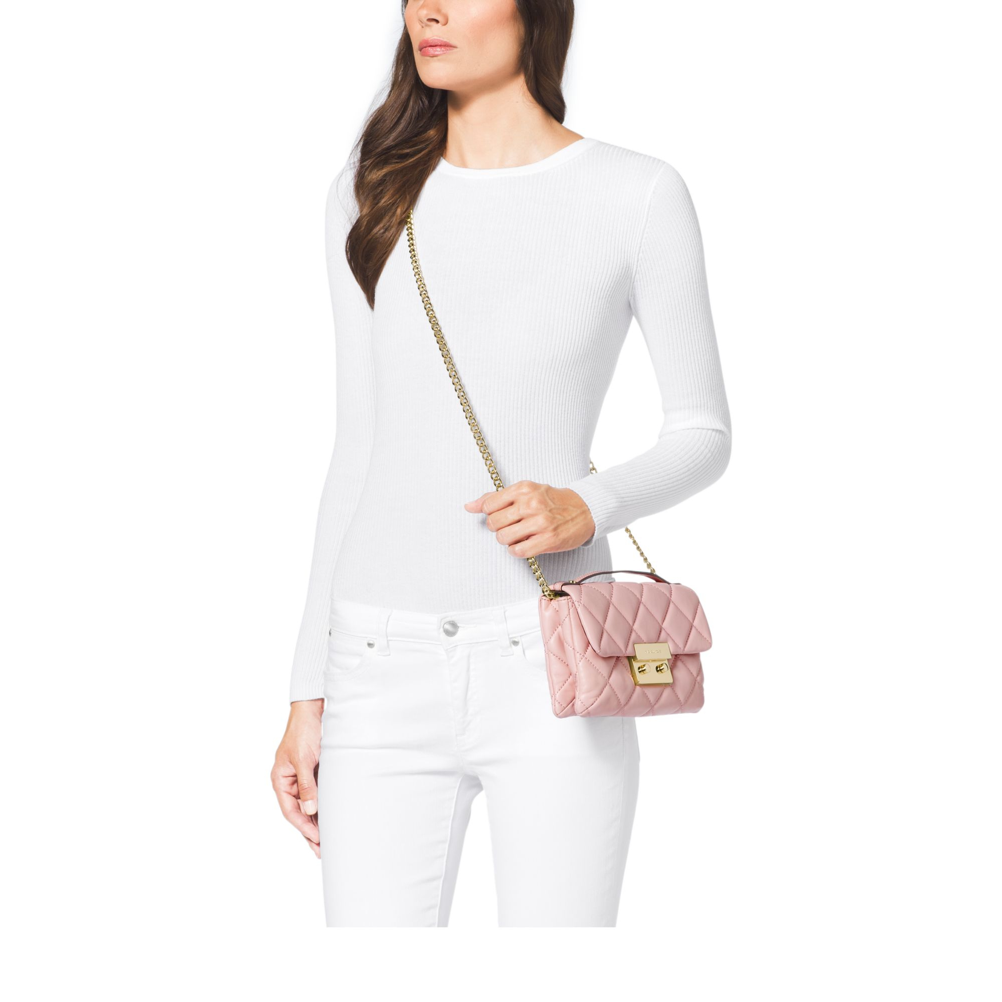 5c36161cabcd23 Michael Kors Sloan Small Quilted Cross-Body Bag in Pink - Lyst