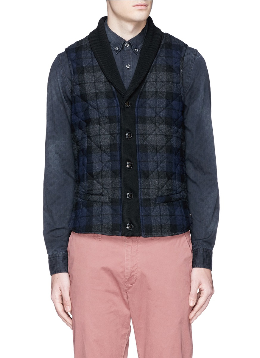 Scotch Amp Soda Check Plaid Flannel Quilted Vest In Gray For