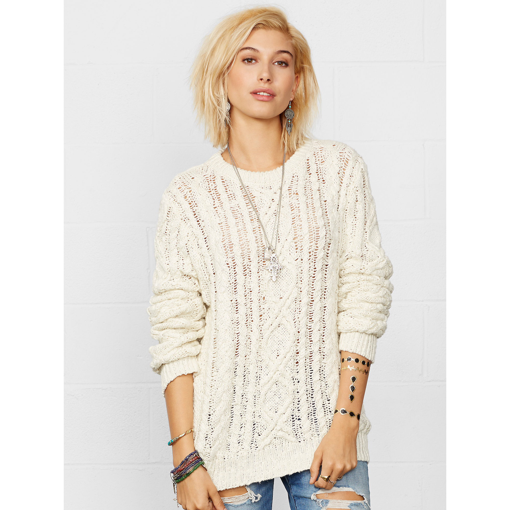 Denim & supply ralph lauren Cable-knit Crewneck Sweater in Natural ...