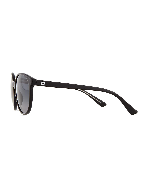 f1d56e6e35e Lyst - Gucci Gg-Temple Round Butterfly Sunglasses in Black