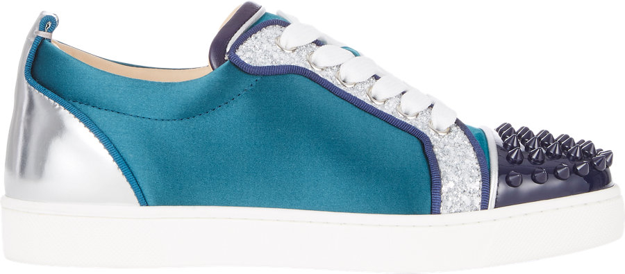 8e3ab04c3565 ... christian louboutin round-toe Louis Junior Spike sneakers Blue suede ...
