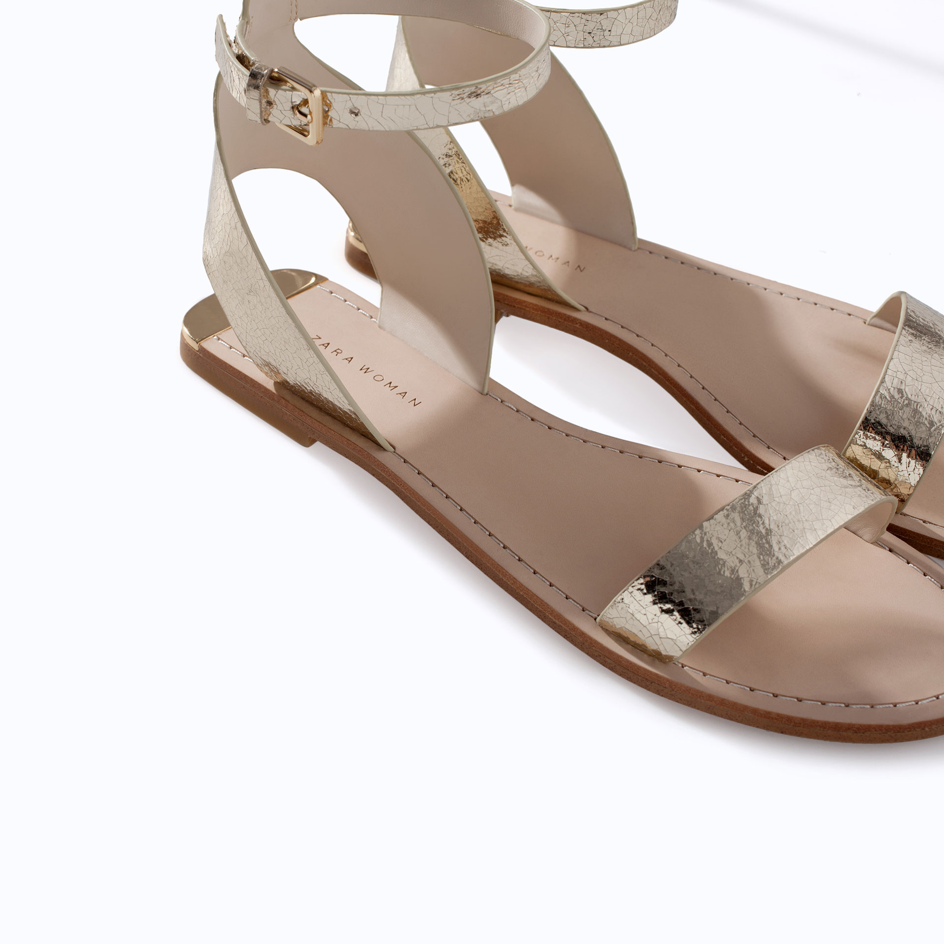 12534ad0f Zara Metallic Leather Sandal with Ankle Strap in Gold