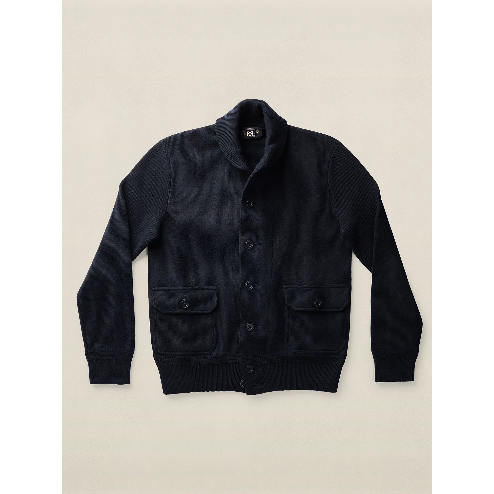 Rrl Cotton Sweater Jacket in Black for Men | Lyst