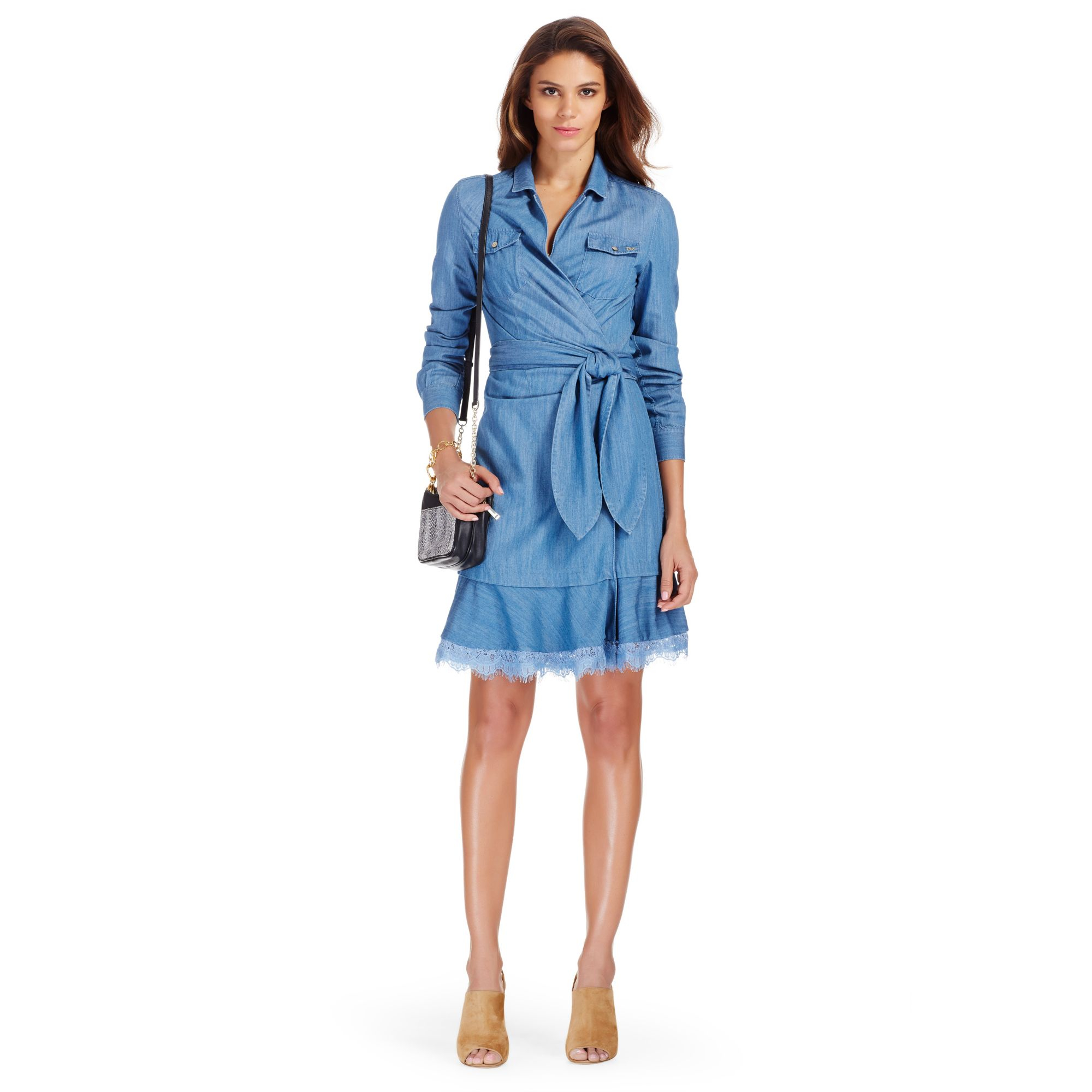 Diane von furstenberg dvf aya denim wrap dress in blue lyst for Diane von furstenberg clothes