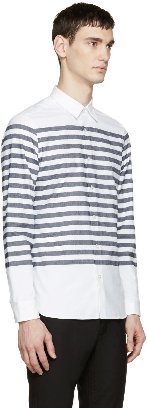 Burberry Brit White And Navy Breton Stripe Shirt In White