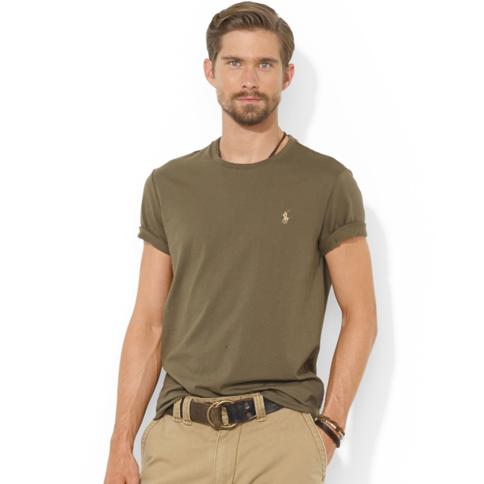 d17e133e ... promo code for lyst ralph lauren polo customfit cotton jersey t shirt  in green ea662 f04ef