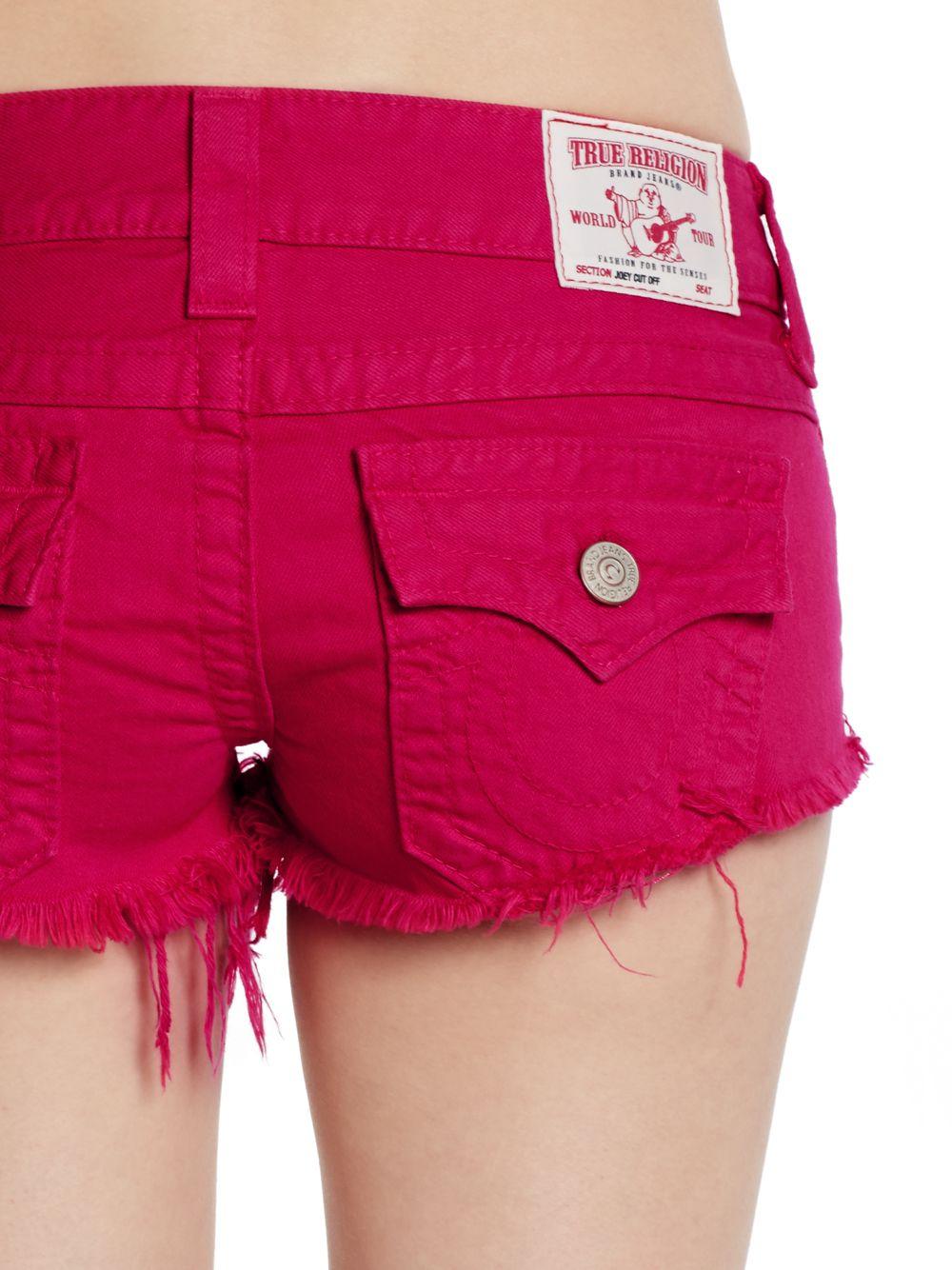 True religion Cut-off Jean Shorts in Pink | Lyst