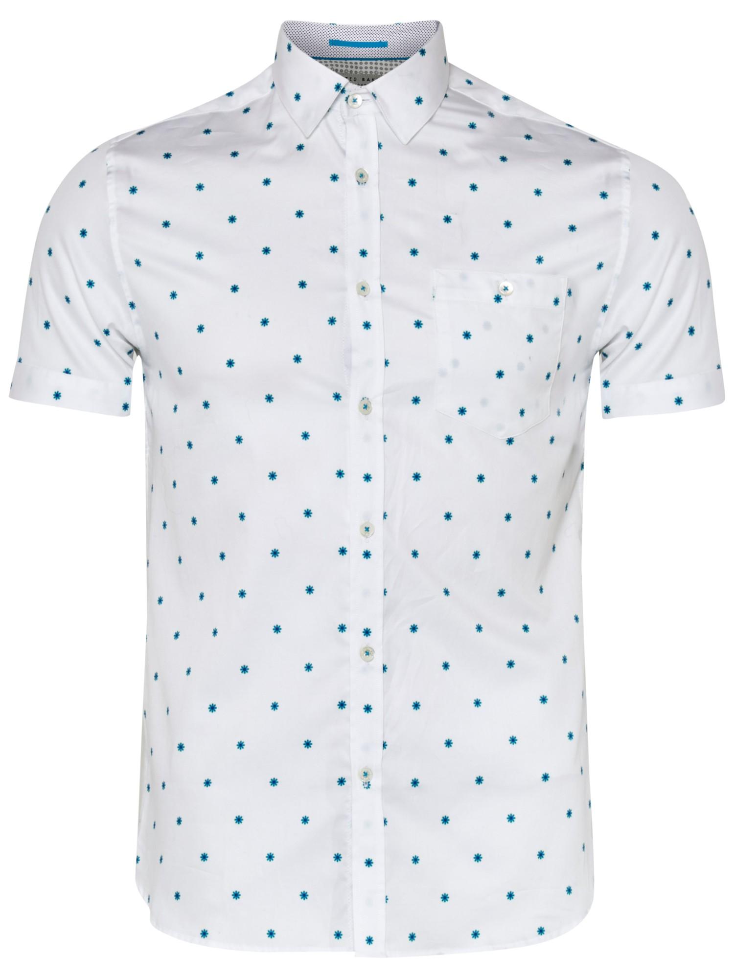 Lyst ted baker mydance short sleeve shirt in blue for men for Ted baker shirts sale online