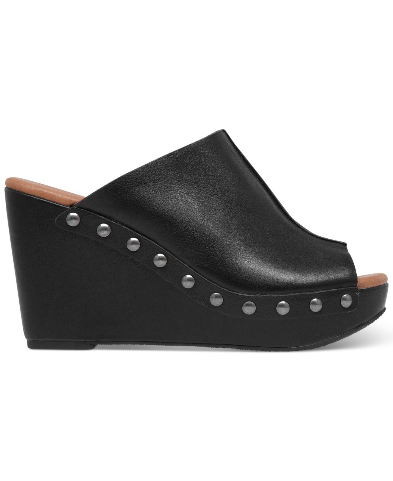 9898c70d8e Lucky Brand Women'S Malayah Platform Wedge Slide Sandals in Black - Lyst