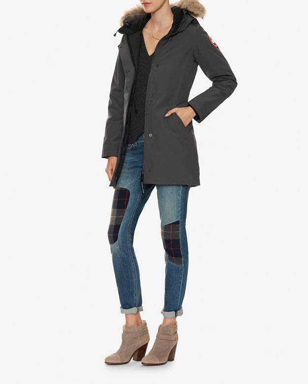 Canada goose Victoria Fur Trim Park: Grey in Gray (charcoal) | Lyst