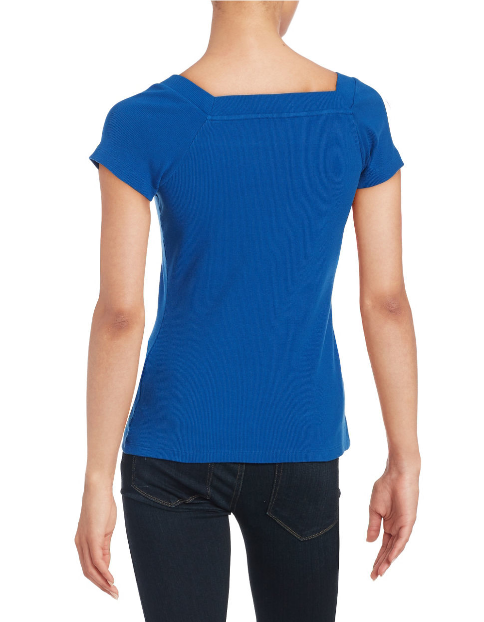Lord taylor petite ribbed tee shirt in blue lyst for Petite white tee shirt