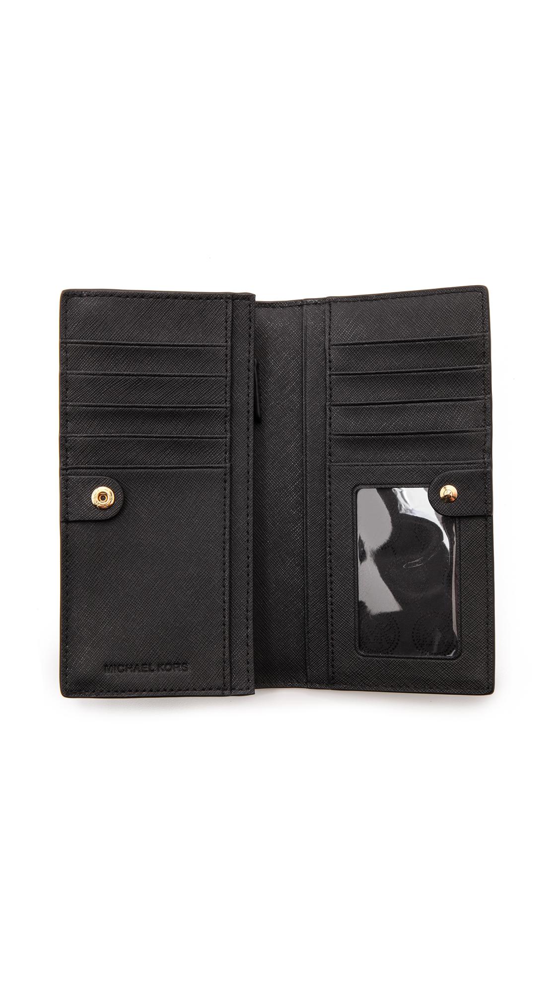 277c9abdcb95cd MICHAEL Michael Kors Jet Set Travel Large Slim Wallet in Black - Lyst