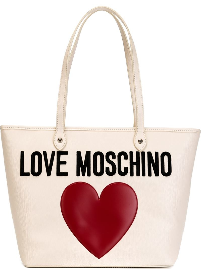 lyst love moschino embroidered tote in natural. Black Bedroom Furniture Sets. Home Design Ideas
