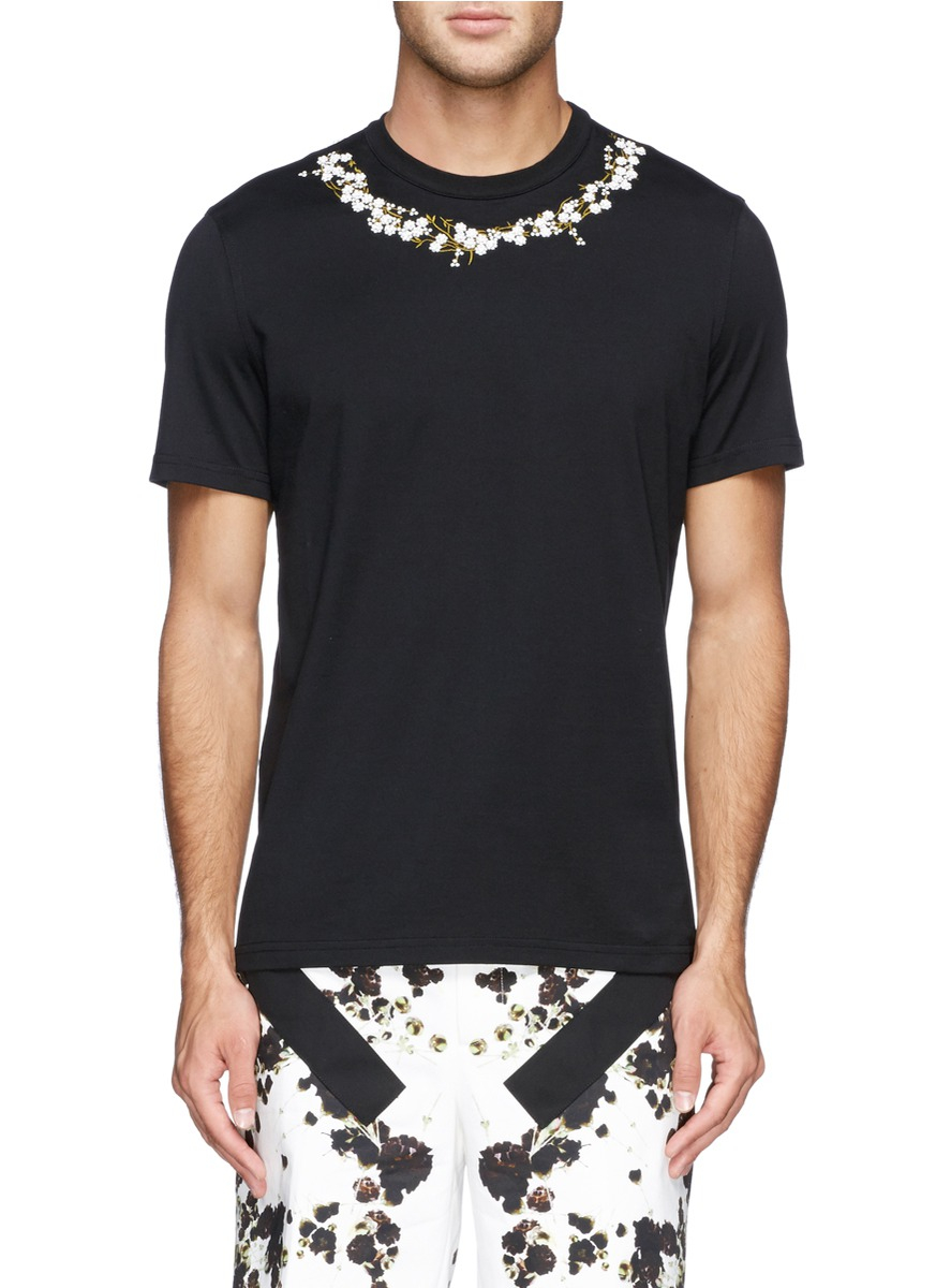 Givenchy baby 39 s breath floral embroidery t shirt in black for Givenchy t shirt man