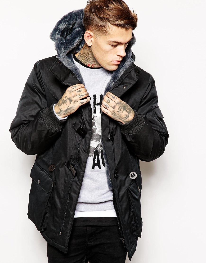 Eleven paris Parka Jacket in Black for Men | Lyst