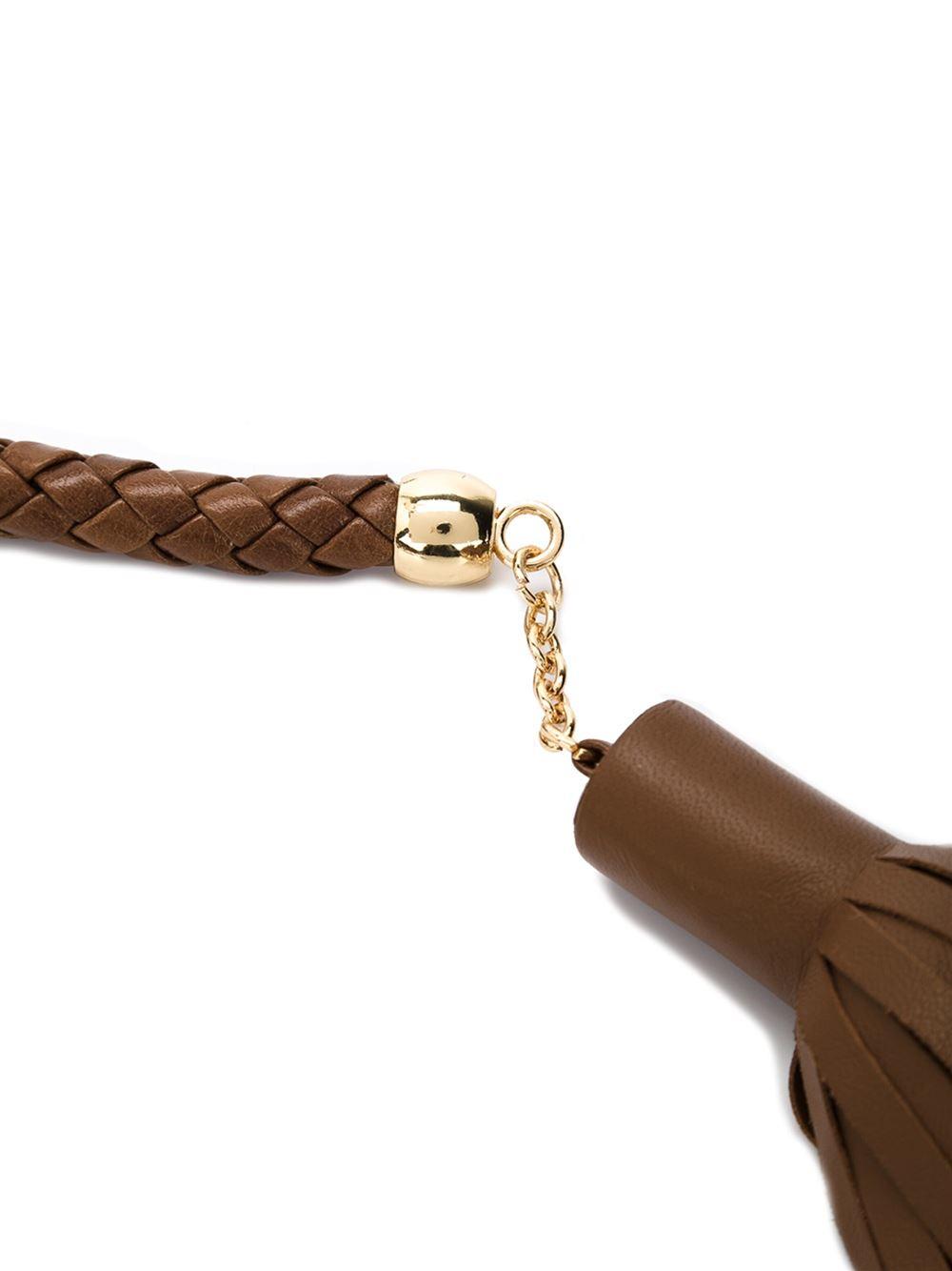 rosetta getty plaited tassel belt in brown lyst