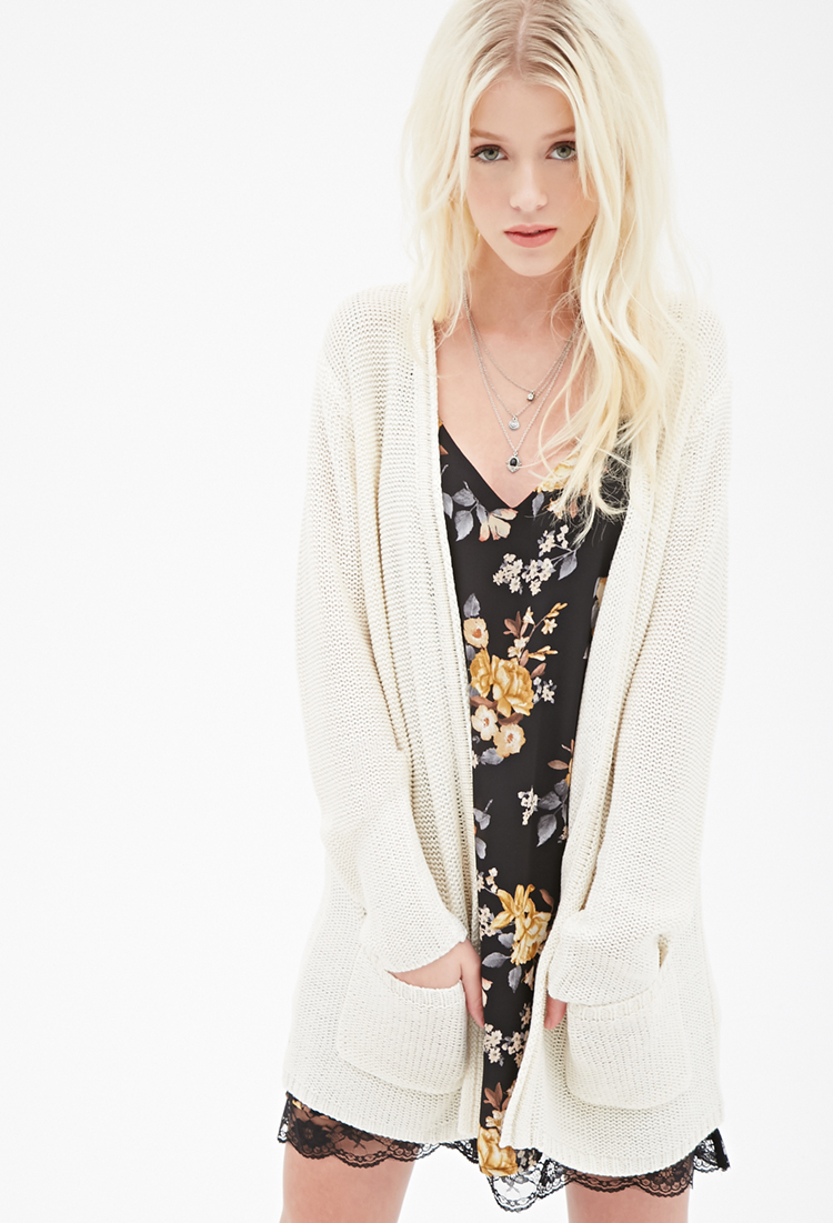 Forever 21 Longline Ribbed Cardigan in Natural | Lyst