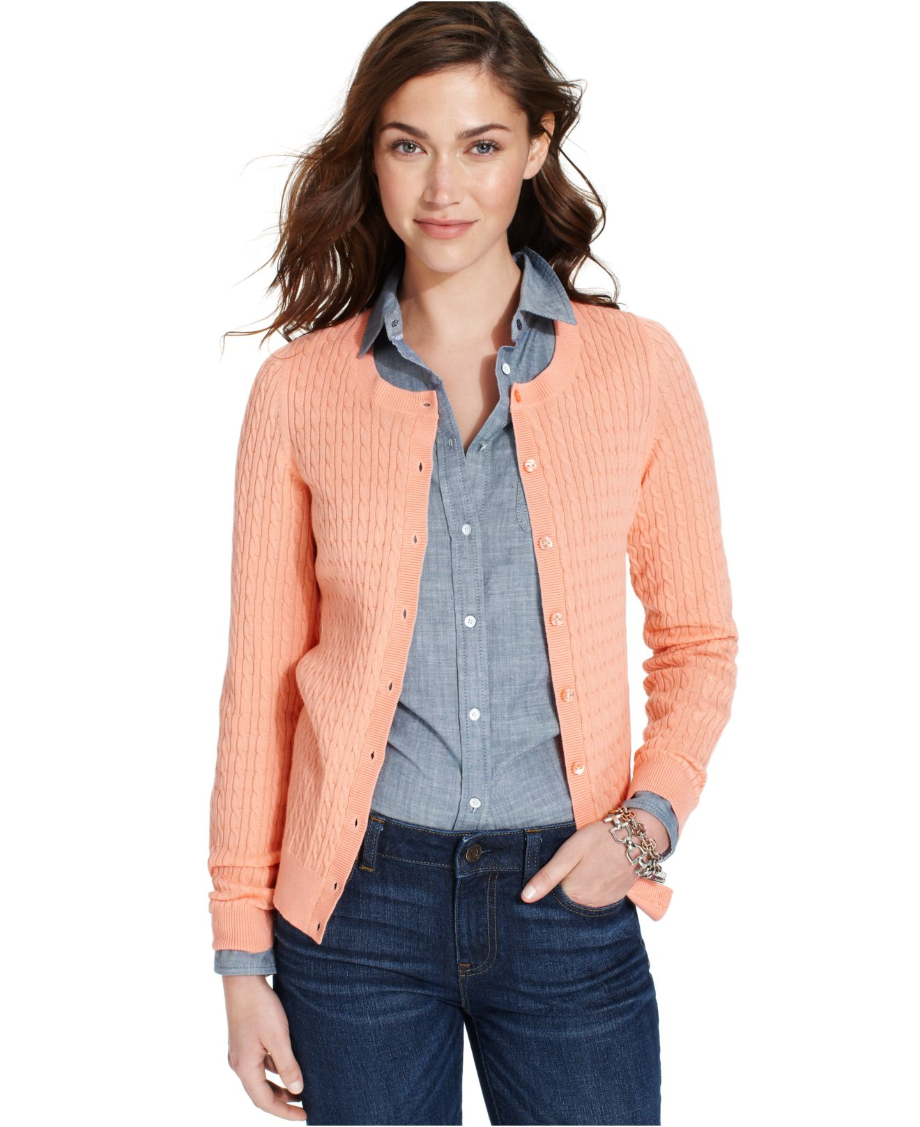 Tommy hilfiger Long-Sleeve Cable-Knit Cardigan in Orange | Lyst