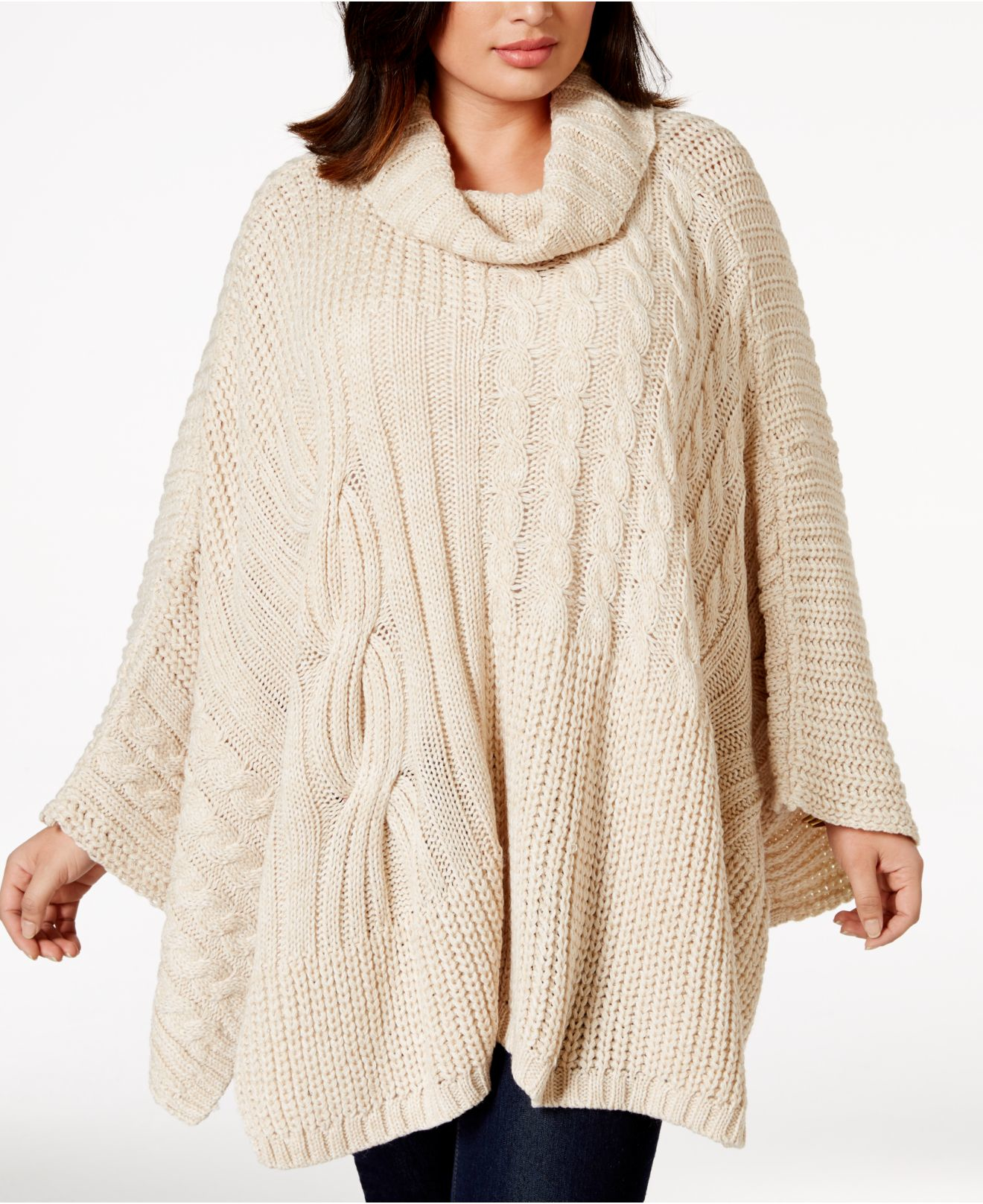 Lyst Jessica Simpson Plus Size Cable Knit Poncho In Natural