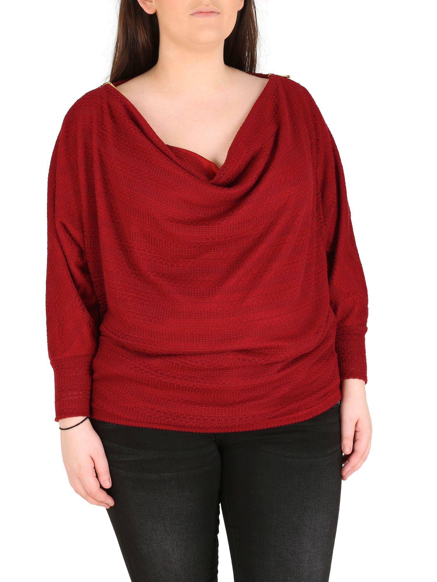 Samya polyester elastane cowl neck top in purple burgundy