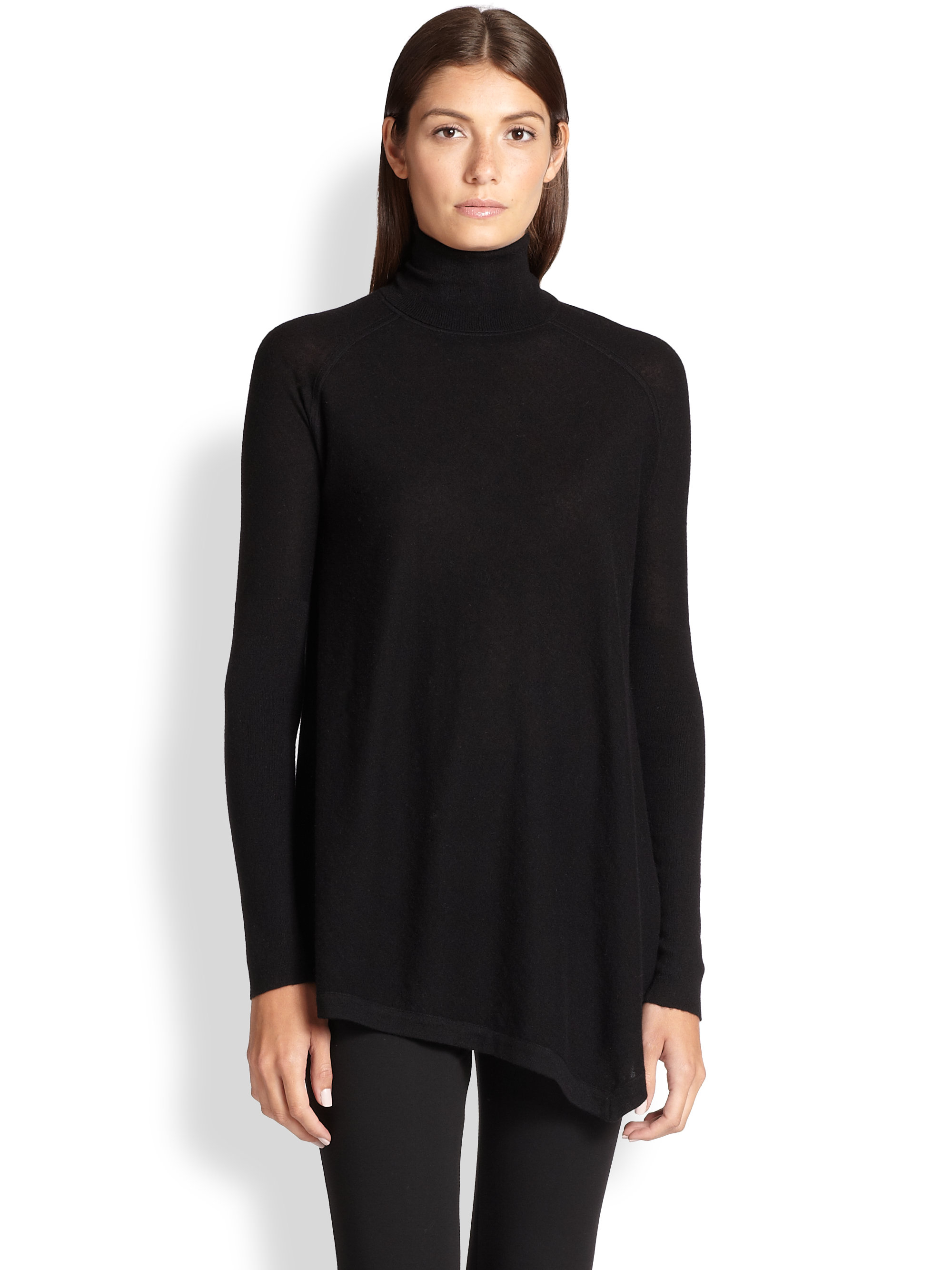 8bac04c6933 Donna Karan Asymmetrical Cashmere Turtleneck Tunic in Black - Lyst