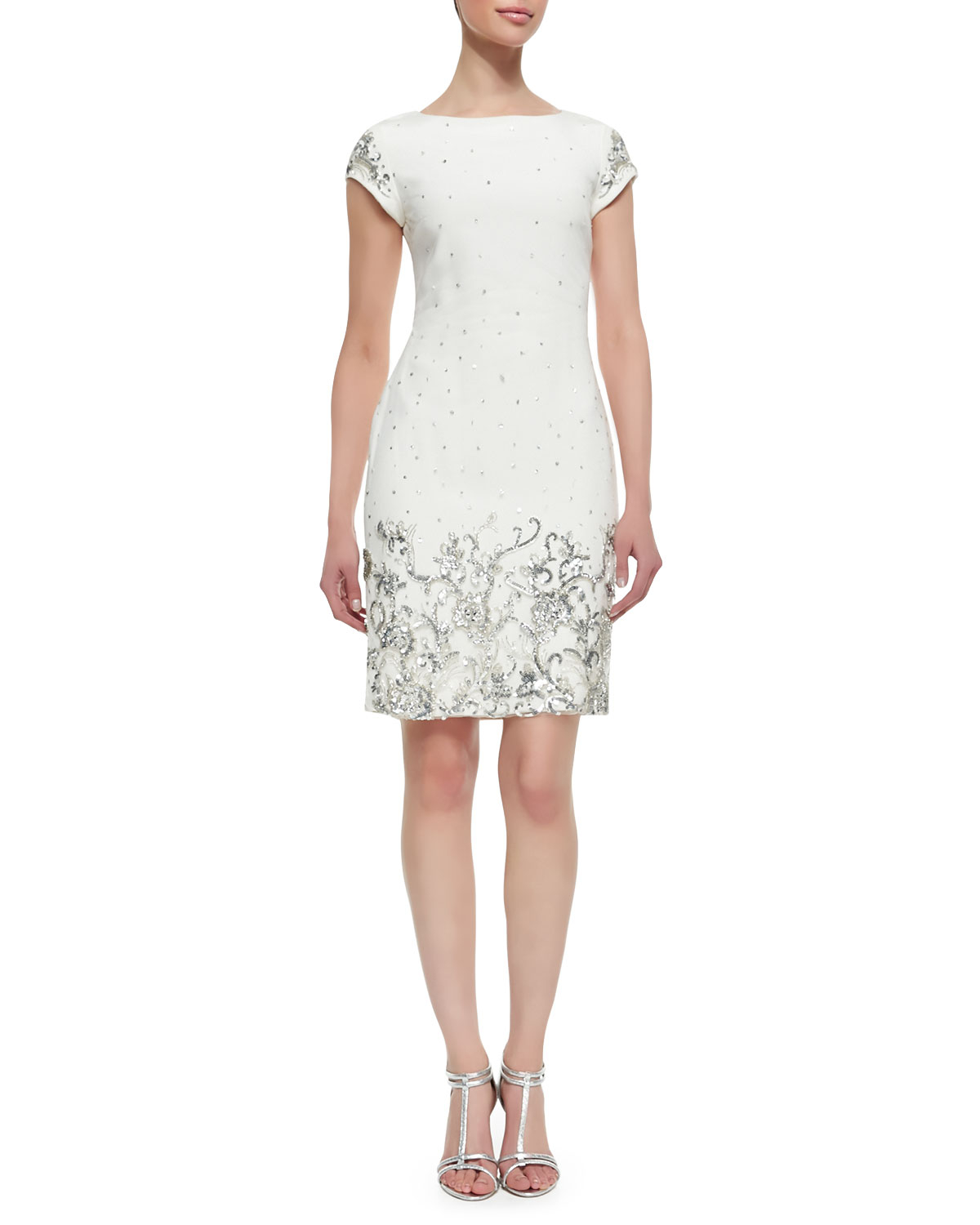 marchesa shift style beaded sequined cocktail dress in