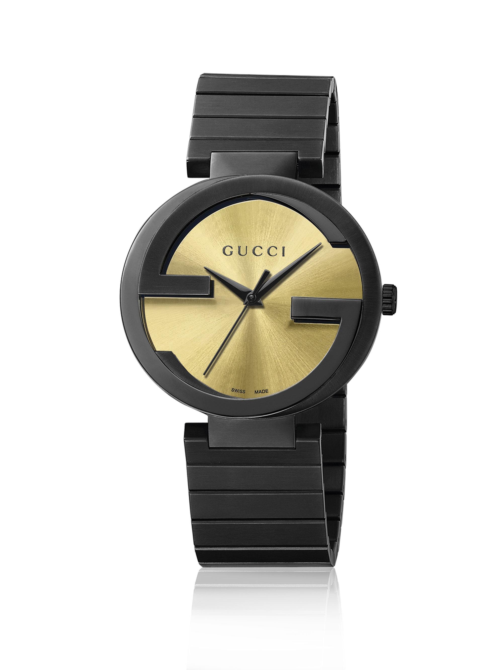 5418fa766d7 Lyst - Gucci Unisex Swiss Interlocking Black Pvd Bracelet Watch 42mm ...