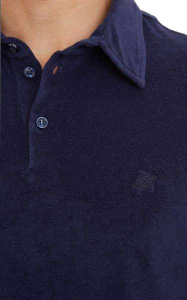 Vilebrequin terry cloth polo shirt in blue for men lyst for Mens terry cloth polo shirt