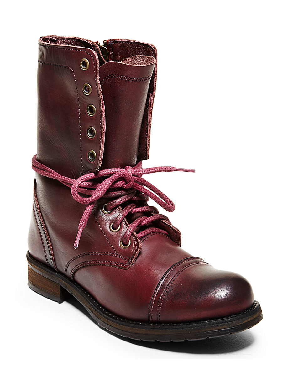 steve madden troopa2 mid calf leather boots in purple. Black Bedroom Furniture Sets. Home Design Ideas