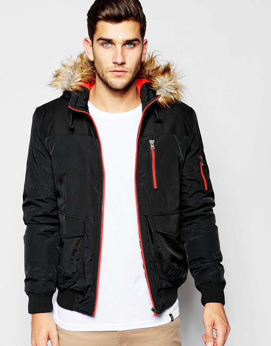 Images of Black Parka Jacket Mens - Reikian
